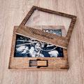Stilvolle Holzbox für Bilder und USB-Stick