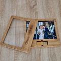 Holzbox für Fotos mit individueller Gravur inklusive
