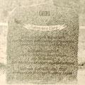 Die Inschrift auf dem Gedenkstein, wurde in der Wendezeit 1989/1990 von bisher Unbekannten zerstört