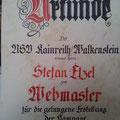 Urkunde für Webmaster Stefan Etzel