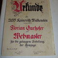 Urkunde für Webmaster Florian Garhofer