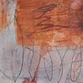 155 orange experiments.Teil eines Triptychons 30x30.2015. In Privatbesitz