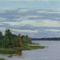 """Закат над озером"" 101,5x31,6 см, 2006г."