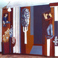 Фрагмент бетонного  рельефа с росписью в школе г. Дмитрова 1991