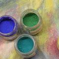Mineralfarben Ägyptisch Blau, grüne Erde, Ultramarin