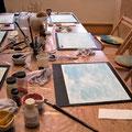 Atelierarbeit zur Farbe Blau