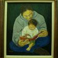 池田美代:お父さんのひざで(油彩)