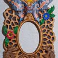 "Рама для зеркала ""Иное..."" Липа, янтарь, малахит, тигровый глаз, маслянные краски."
