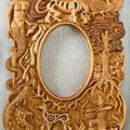 """Рама для зеркала """"Скифская колыбельная"""". Липа, мореный дуб, янтарь, уральский малахит, перламутр."""