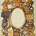 "Рама для зеркала ""Царство Велеса"".  Липа, мореный дуб, джатоба, янтарь, уральский малахит, лазурит, гагат."