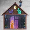 Муза фиолетовых сказок.  37 - 40 см. Дерево, оргалит, масло, акрил.