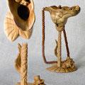 """Мини - ваза """"Тоже мне, Дюймовочка"""":) 14 см. Кап """"шашлычного дерева"""":), бук, черешня, груша, крымский малахит."""