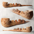"""Трубка """"Охота на тигра"""". Груша, бук, лещина, янтарь, крымский малахит. 35 см."""