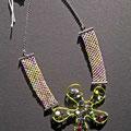 """collana """"Chantico"""" 4. Tecnica: macramè. Materiale: cotone, perle di vetro e filo d'alluminio."""