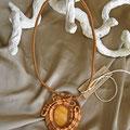 "collana in macramè ""MEDUSA"" 5 - cotone, pietra di vetro"