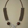 """collana """"Chantico"""" 3. Tecnica: macramè. Materiale: cotone, perle di vetro e filo d'alluminio battuto a mano. venduta"""