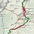 9 Etappen: Unsere real gefahrene Strecke laut gps-Aufzeichnung