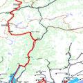 Unsere Strecke von Füssen bis Venedig, wie vom Fahrradnavi aufgezeichnet