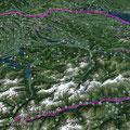 Unser Track von Andermatt bis Basel, wie vom Fahrradnavi aufgezeichnet