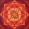 Wurzel Chakra, Acryl auf Leinwand 20 x 20 cm, verkauft!