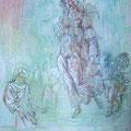 Verwundert am See G....Rötel, Kreide und Lack auf Acryl auf Leinen 40 x 50 cm