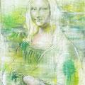 Green Mona,  Acryl Lack Pastell  auf Leinen 40 x 60 cm