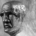 Kopfstudie, Kalziumsulfat patiniert, Höhe: 9 cm