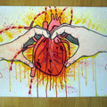 """Love is a bloody thing"", hand-coloured on canvas, © Jan Leichsnering, All Rights Reserved"