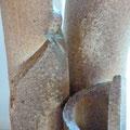 Détail cendrage sur Vase Bouquet cuisson four à bois Noborigama - Caco et Sylvie -