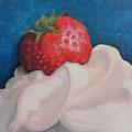 Erdbeere auf Rahmtupfer / Öl auf Leinwand 2015 (verkauft)