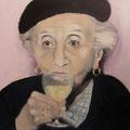 Trinkende Lady / Öl auf Leinwand / 80 x 80 cm 2014