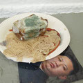 exactly what you look like . 2014 . lifesize .object made of wax and oil paint . on a paper plate. with molded bread and a photograph