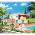 Illustration villa : Technique mixte • © Christophe Houlès, illustrateur