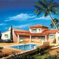 Illustration villa Méditerranéenne : Technique mixte • © Christophe Houlès, illustrateur