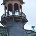 Farblich hervorragend an seine Umgebung angepaßt: Das neue Turmfalkenheim am Rathausturm. Foto: D. Jansen