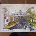 859 震災前の駅前通り(絵)