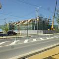 426 陸前高田市立博物館の建設現場、手前は旧・復興まちづくり情報館(改修中)