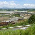 334 撤去される仮設橋梁、復旧