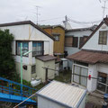 土手の上から見ると家屋の密集している様子が良くわかる
