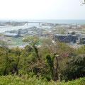 467 日和山から見た沿岸部、左側の青色屋根は移設が決まったマルハニチロ、右側 は建築中の復興公営住宅