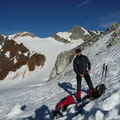 Nach dem Abstieg durch die Rinne,wieder zurück bei den Schneeschuhen