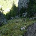 Zwischen den beiden Almen befindet sich dieser steile Steig
