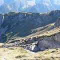 Blick zum Hirschhals,dem langen Geländerücken zwischen Schafkar und Roßkar