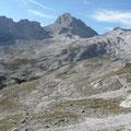 Blick auf die Wetterspitzen des Wettersteingebirges