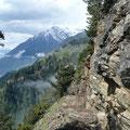 Blick zur verschneiten Zielspitze