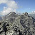 Blick zur Schwellenspitze und Wasserfallkarspitze