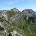 Am Gipfel der Schänzlespitze,mit Blick zur Kälbelespitze,Kastenkopf und Lahnerkopf