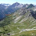 Blick auf Hochvogel und Jubiläumsweg,vom Lahnerkopf.