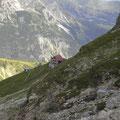 Waltenberger Haus im Aufstieg durch das Bockkar