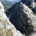 Scharte im Gipfelbereich des Roßgundkopfes